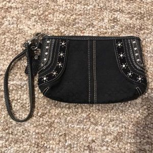 Coach black with silver stud wristlet